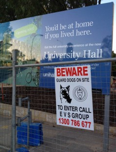 Walking towards the Crawley Campus of the University of Western Australia. I saw more signs about dogs than actual dogs.